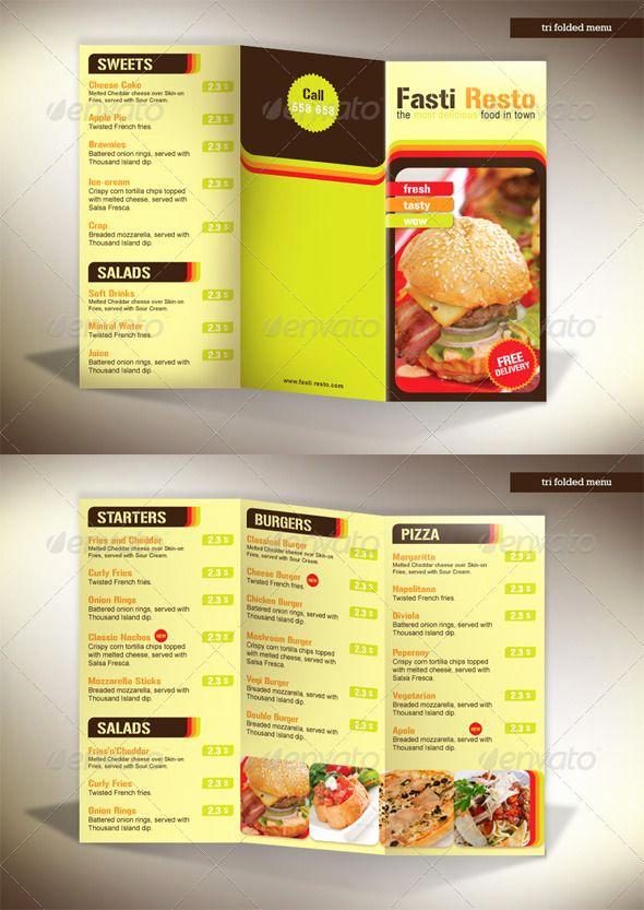 Tri Fold Menu Template Fresh 60 Premium Restaurant Menu Templates Dzineflip