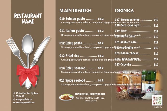 Tri Fold Menu Template Fresh Brown Restaurant Menu Matte Tri Fold Template