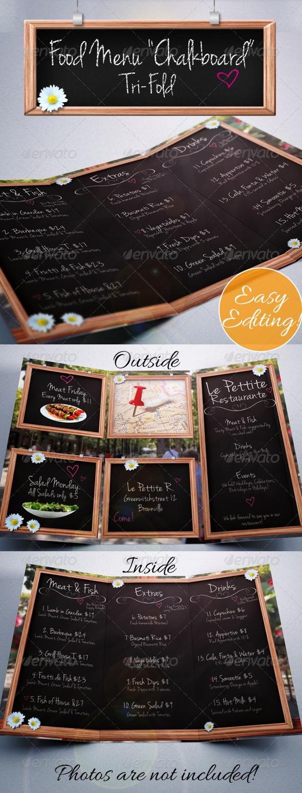 "Tri Fold Menu Template Fresh Food Menu ""chalkboard"" Tri Fold by Graficandmedia"