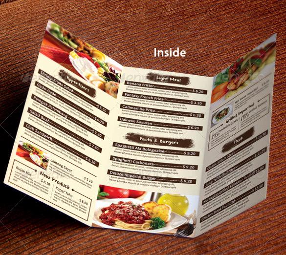 Tri Fold Menu Template Inspirational 51 Restaurant Menu Templates Design Psd Docs Pages