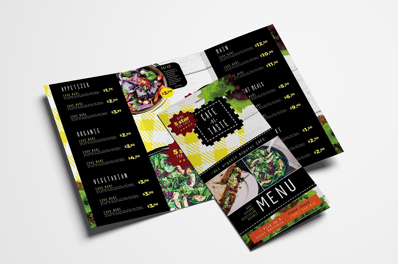 Tri Fold Menu Template Inspirational Trifold Salad Menu Template Brochure Templates