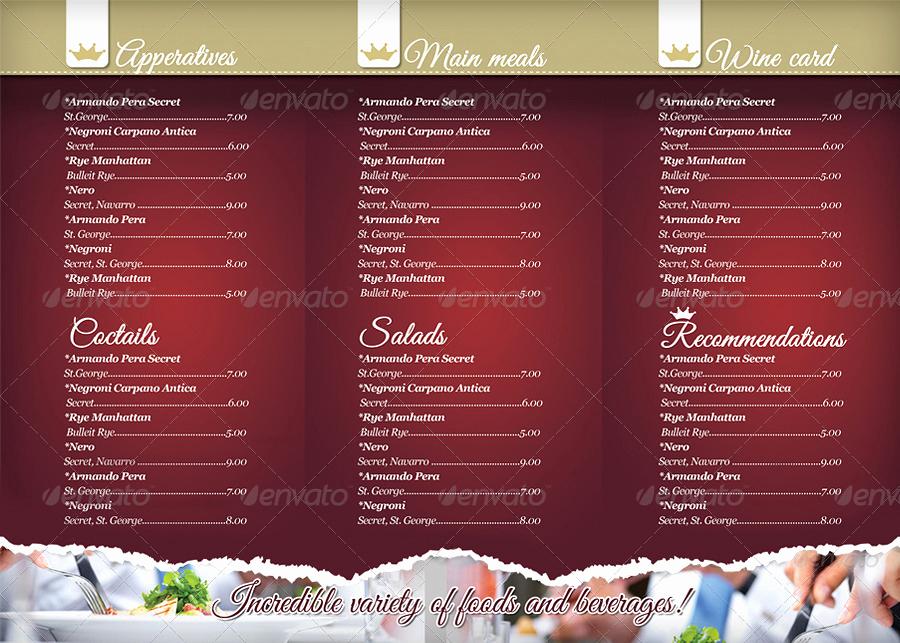 Tri Fold Menu Template Luxury 40 Psd & Indesign Food Menu Templates for Restaurants