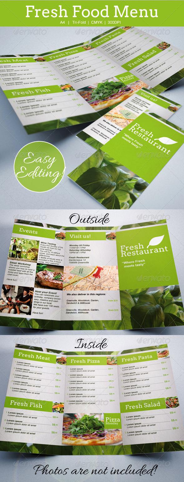 Tri Fold Menu Template Luxury Fresh Food Menu Template Tri Fold