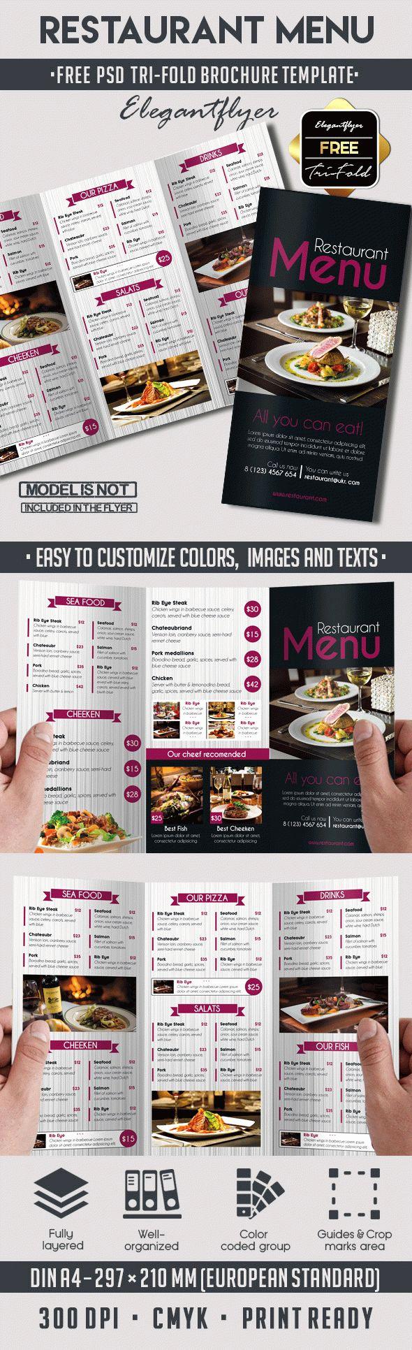 Tri Fold Menu Template Luxury Template Brochure for Restaurant – by Elegantflyer