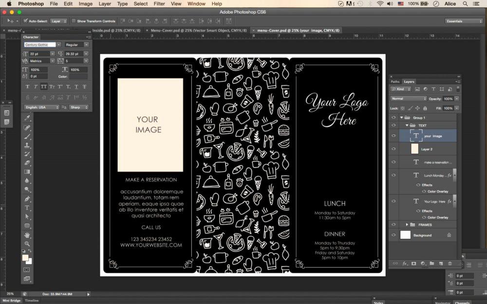 Tri Fold Menu Template New Design & Templates Menu Templates Wedding Menu Food