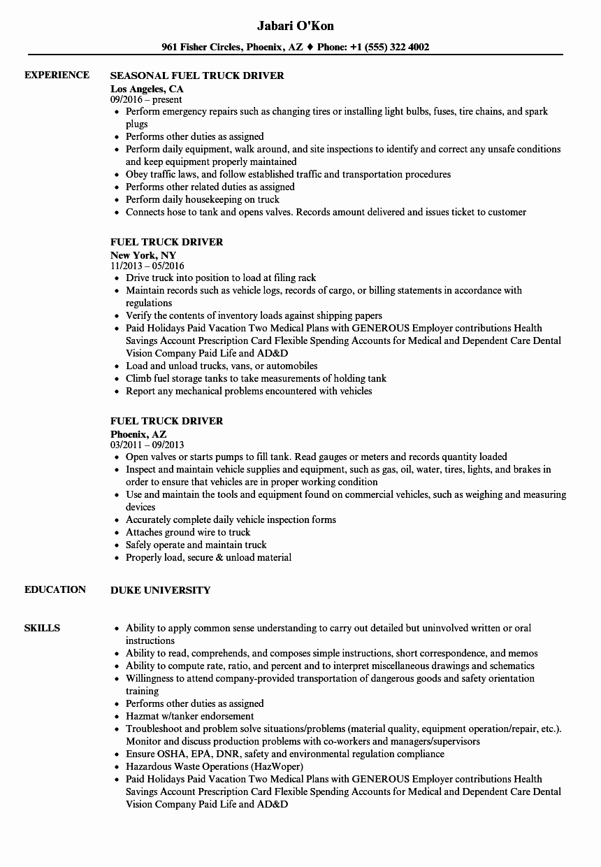 Truck Driver Resume Sample Awesome Fuel Truck Driver Resume Samples