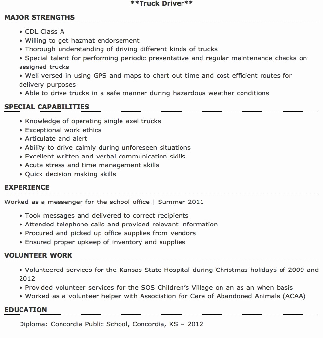 Truck Driver Resume Sample Awesome Pin by Ririn Nazza On Free Resume Sample