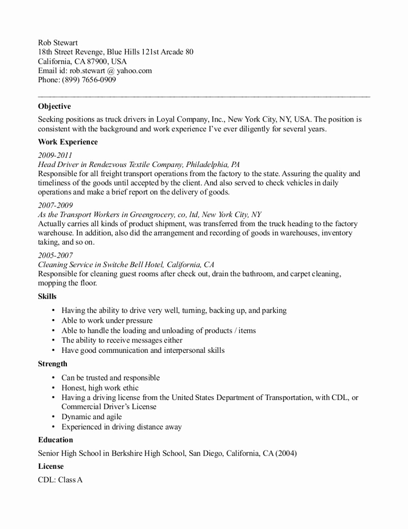 Truck Driver Resume Sample Best Of Cdl Truck Driver Resume Template
