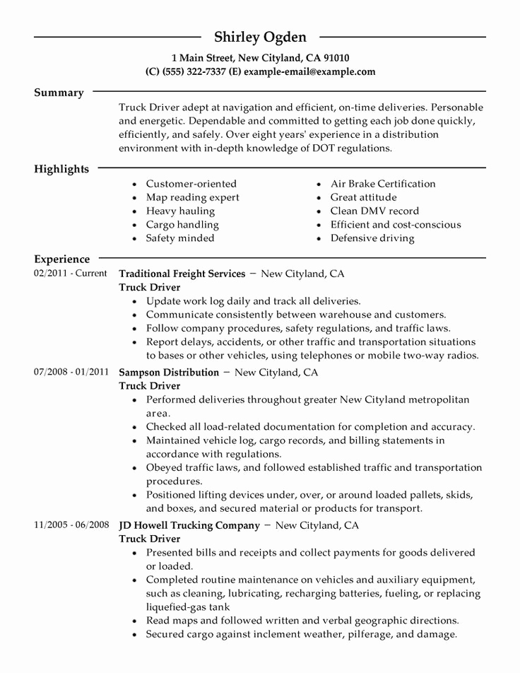 Truck Driver Resume Sample Fresh Resume for Apprenticeship Marine Engineering Job