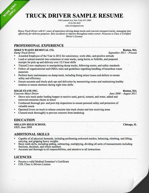 Truck Driver Resume Sample Fresh Truck Driver Trucking Resume Template for Free Download