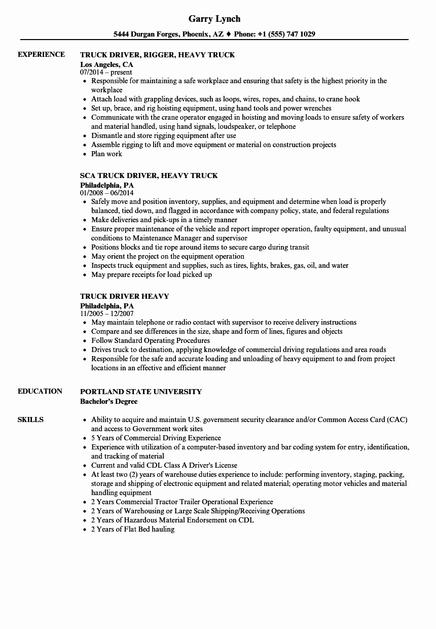 Truck Driver Resume Sample Inspirational Heavy Truck Driver Resume Samples