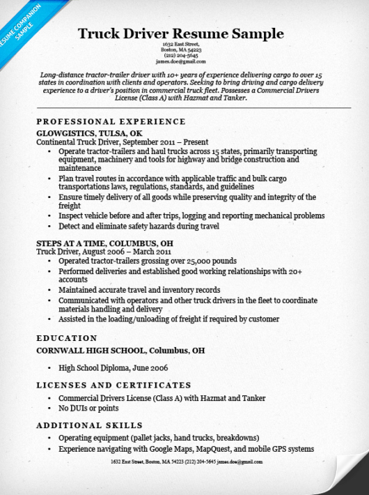 Truck Driver Resume Sample Inspirational Truck Driver Resume Sample