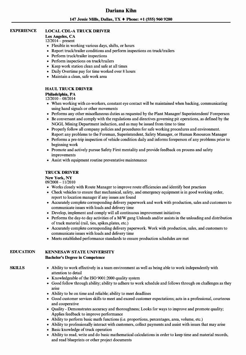Truck Driver Resume Sample Inspirational Truck Driver Resume Samples