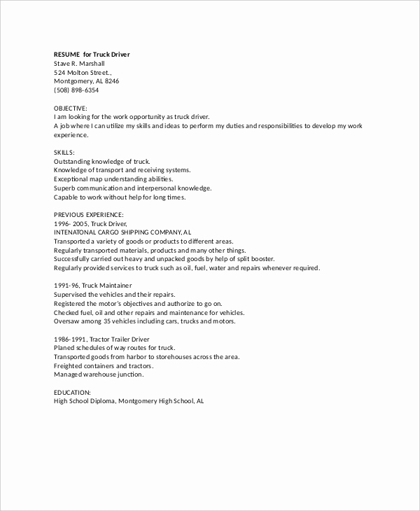Truck Driver Resume Sample Luxury Resume for Drivers Creativecloud Web Fc2
