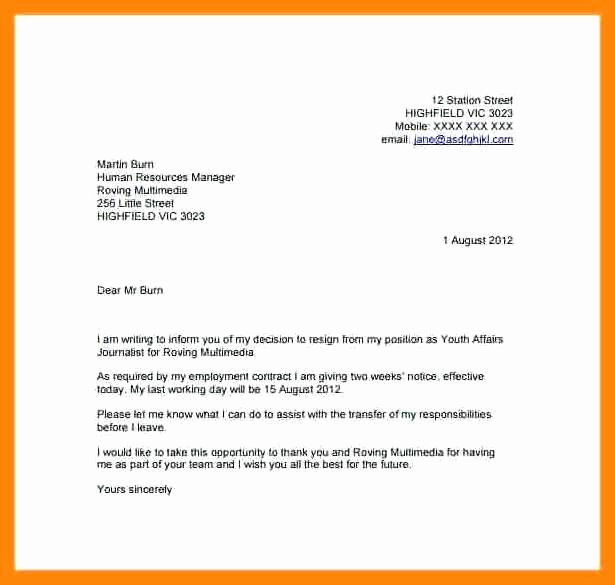Two Week Notice Letter Template Best Of 8 9 Two Weeks Notice Letter