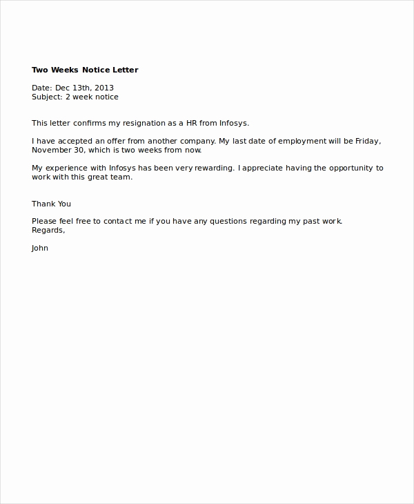 Two Week Notice Letter Template Inspirational 9 Two Weeks Notice Letter Examples Pdf Google Docs Ms