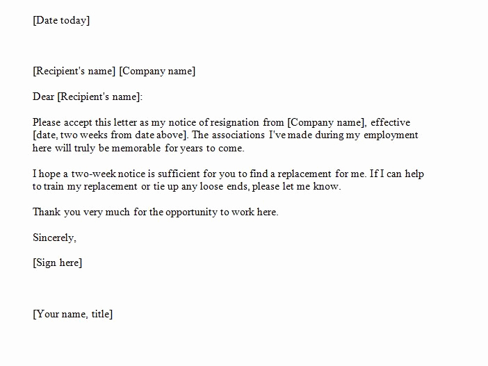 Two Week Notice Letter Template Lovely 40 Two Weeks Notice Letters & Resignation Letter Templates