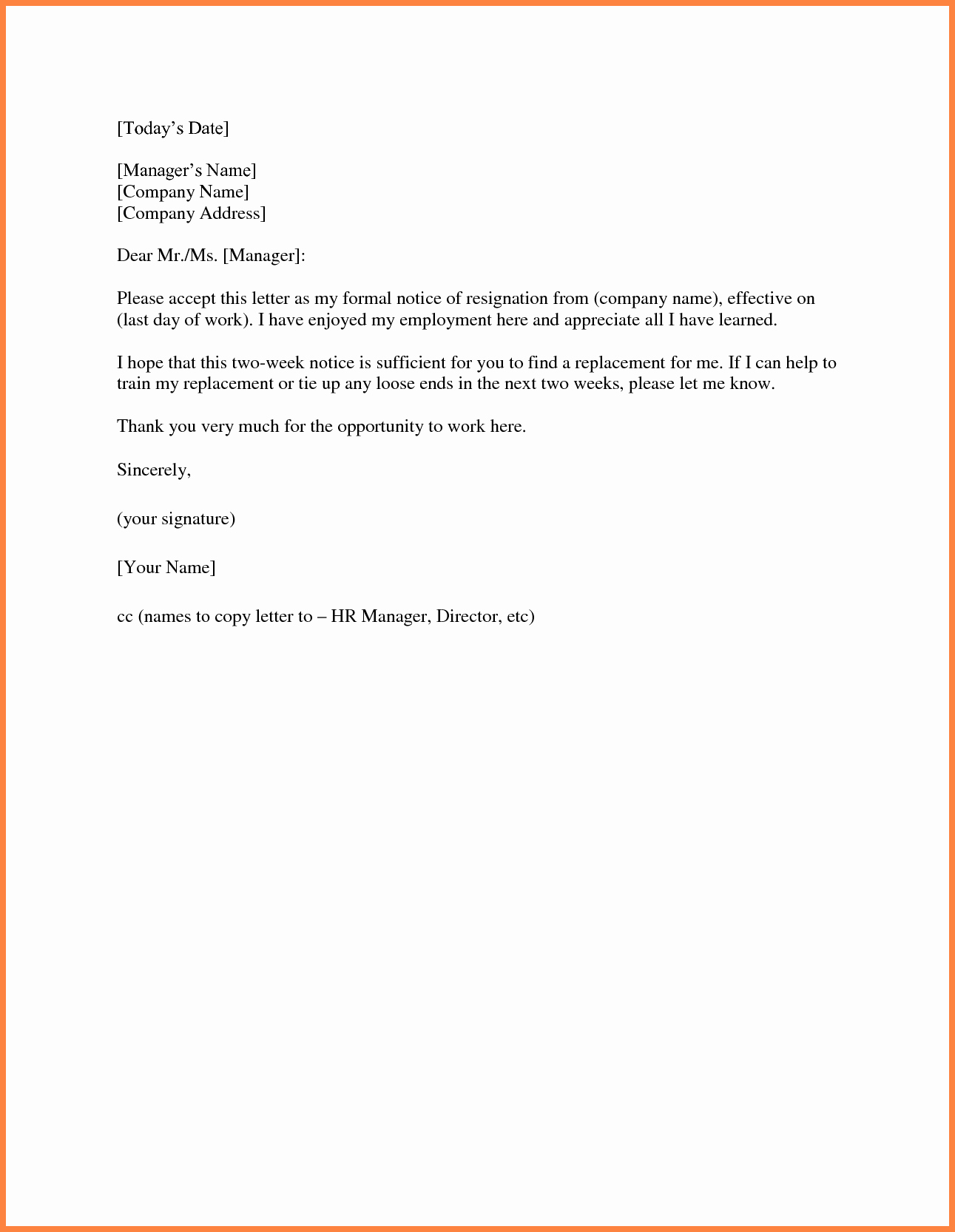 Two Week Notice Letter Template Lovely 9 Sample 2 Weeks Notice to Employer