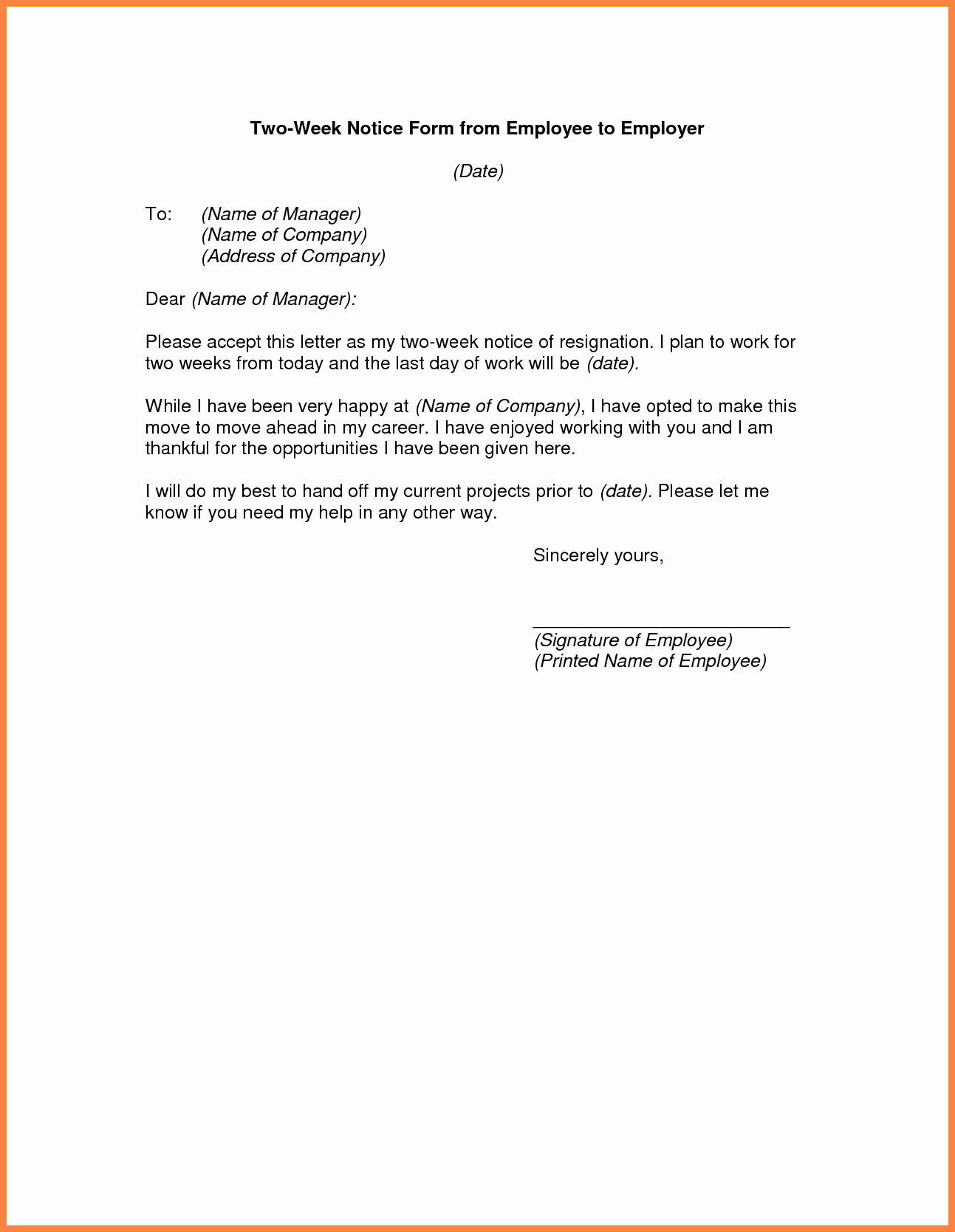 Two Week Notice Letter Template Luxury 9 Sample 2 Weeks Notice to Employer