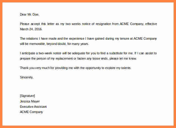 Two Week Notice Letter Template New 6 Generic 2 Week Notice
