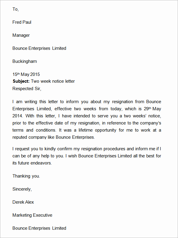 Two Week Notice Letter Template New Wo Weeks Notice Letter with Gratitude Two Weeks Notice