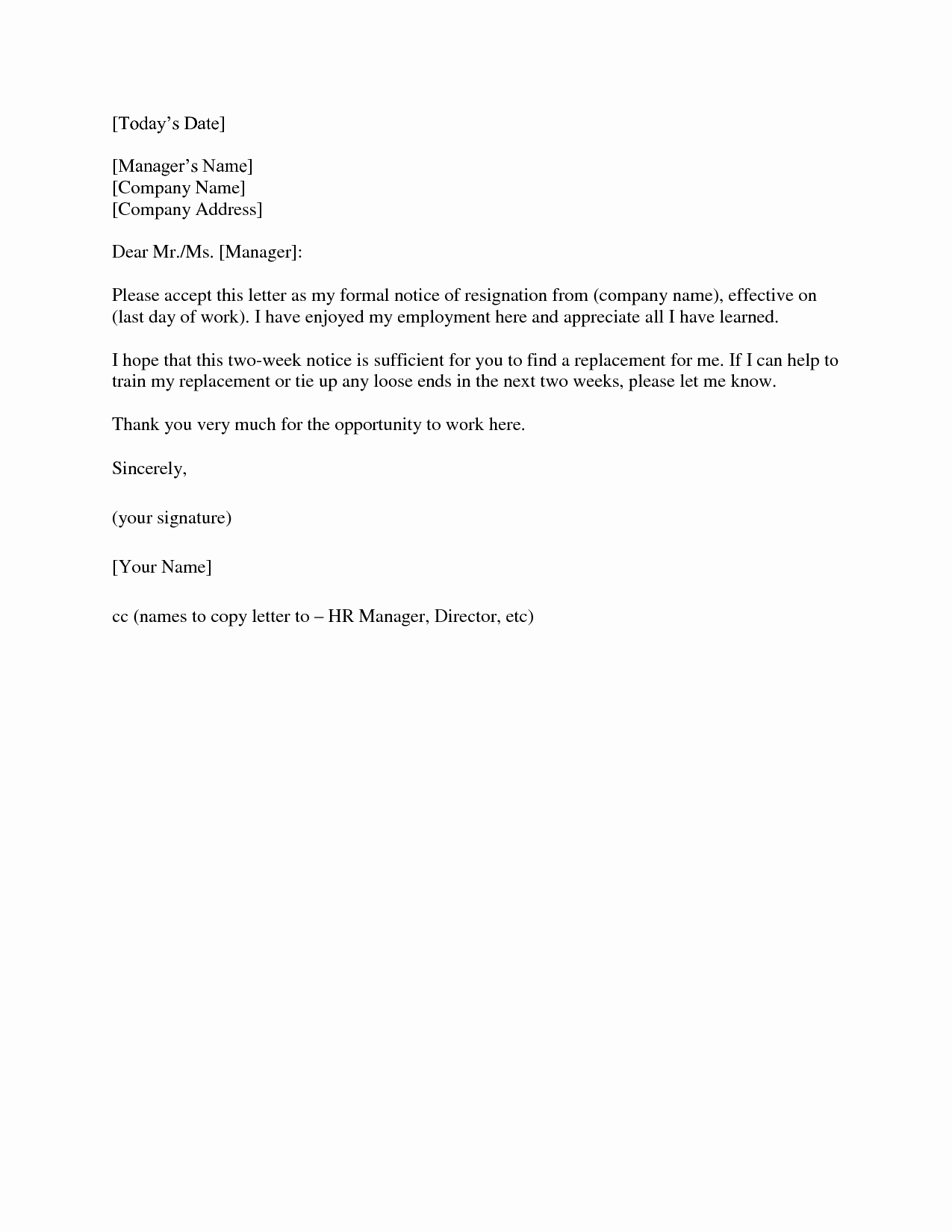 Two Week Resignation Letter Awesome 2 Weeks Notice Letter