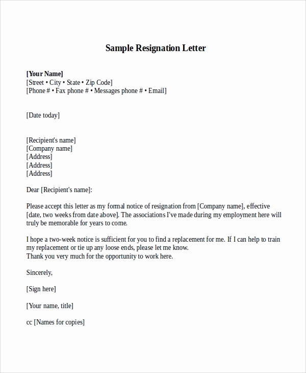 Two Week Resignation Letter Beautiful Sample Resignation Letter with 2 Week Notice 6 Examples