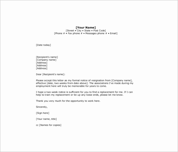 Two Week Resignation Letter Best Of 10 Sample Two Week Notice Resignation Letter Templates