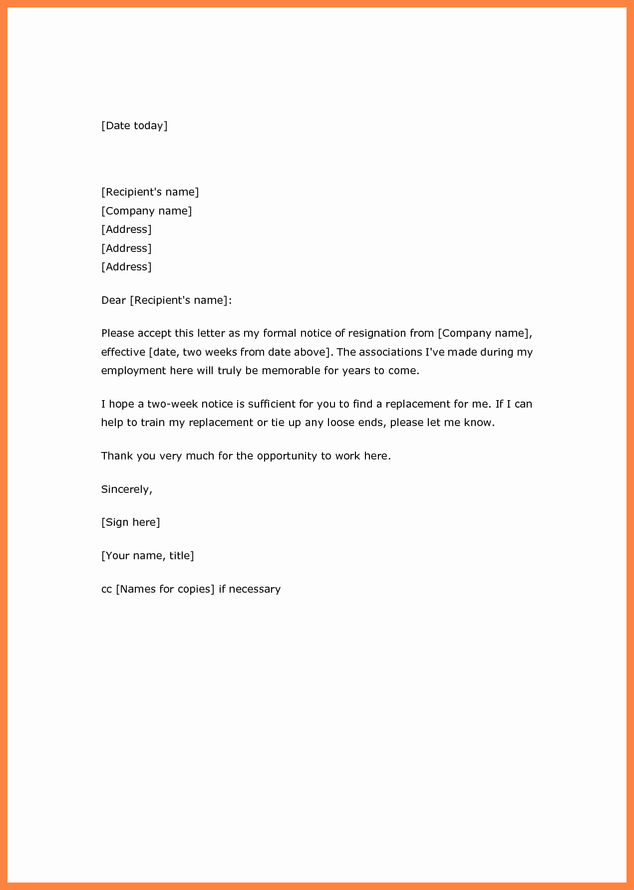 Two Week Resignation Letter Elegant Two Weeks Notice Letter Template