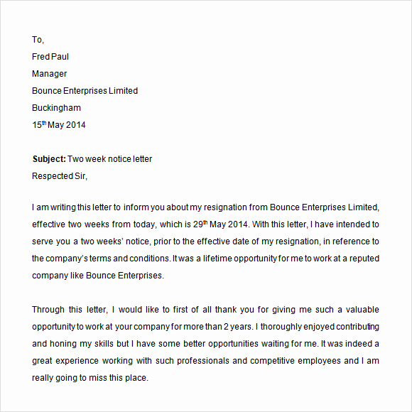 Two Week Resignation Letter New Sample 2 Weeks Notice 6 Download In Word Pdf
