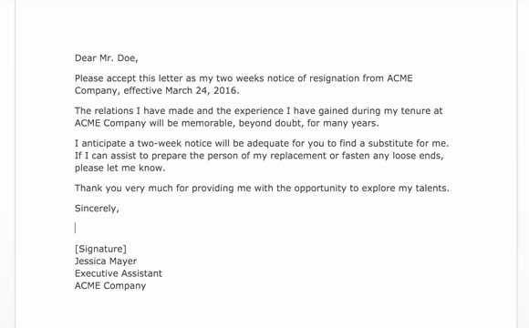 two weeks notice letters