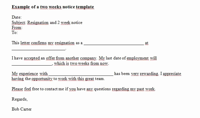 Two Weeks Notice Letter Sample Awesome 40 Two Weeks Notice Letters & Resignation Letter Templates