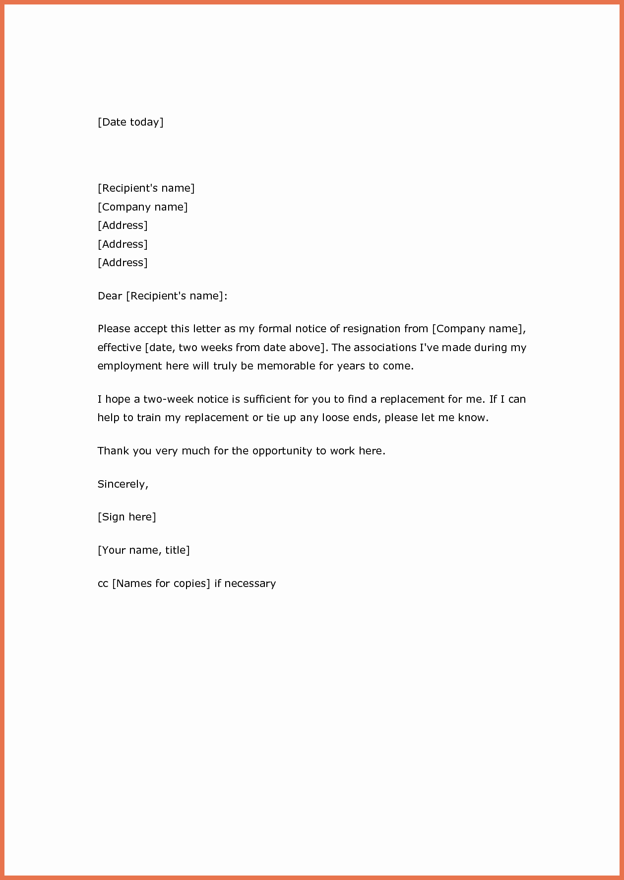 Two Weeks Notice Letter Sample Awesome Two Weeks' Notice Resignation Letter Samples