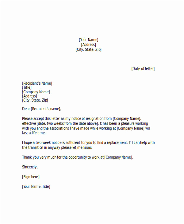 Two Weeks Notice Letter Sample Best Of 23 Two Weeks Notice Letter Examples & Samples Google