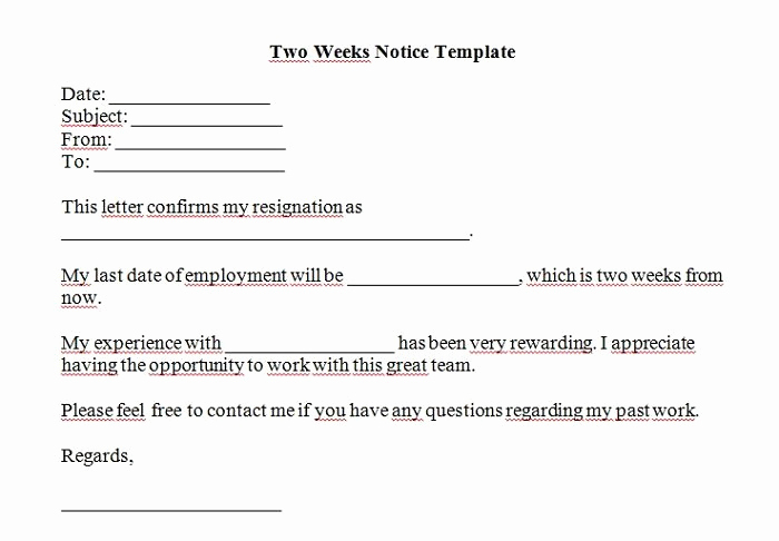 Two Weeks Notice Letter Sample Inspirational 40 Two Weeks Notice Letters & Resignation Letter Templates