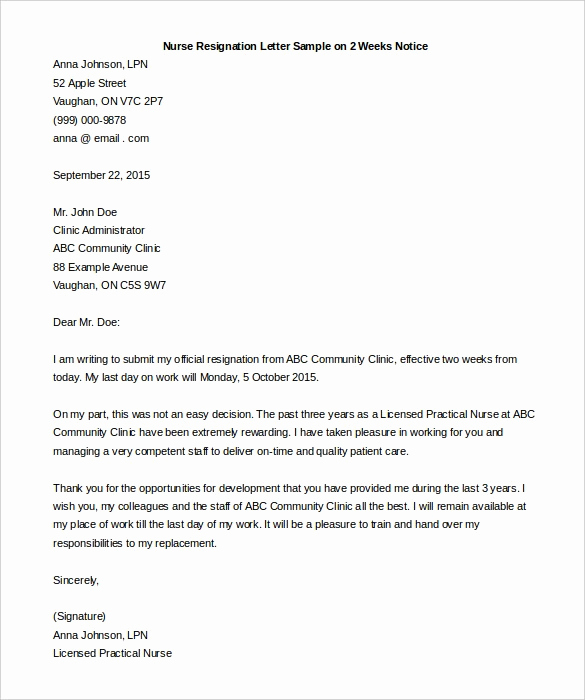 Two Weeks Notice Letter Sample Inspirational Resignation Letter 2 Week Notice