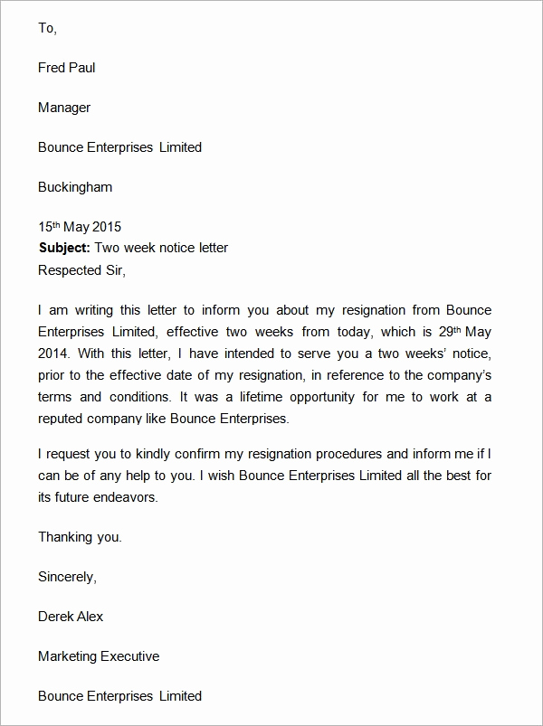 Two Weeks Notice Letter Sample Luxury Two Weeks Notice Letter 12 Download Free Documents In Word