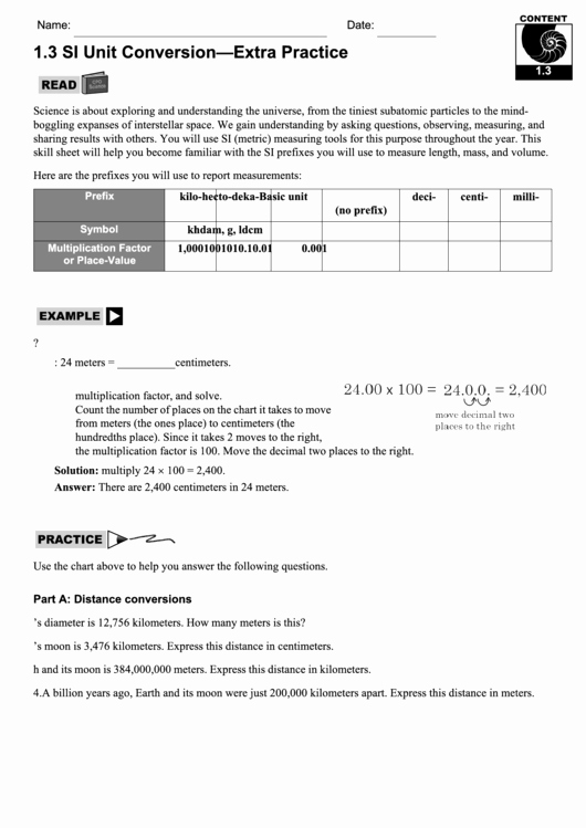 Unit Conversion Worksheet Pdf Best Of Unit Conversion Worksheet Printable Pdf