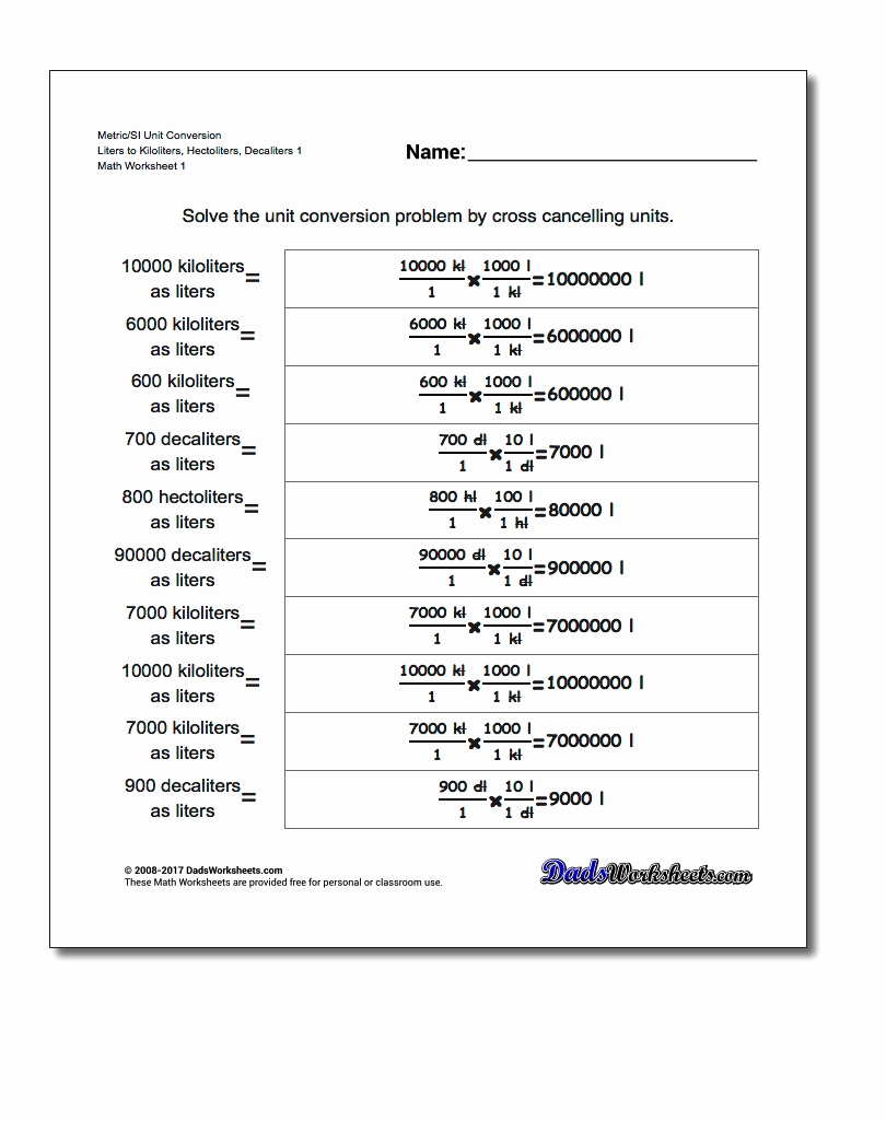 Unit Conversion Worksheet Pdf Luxury Metric Si Volume