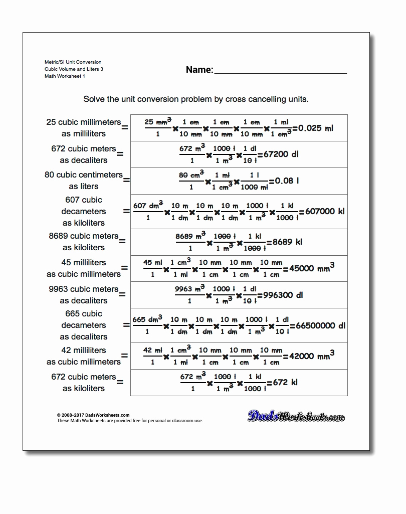 Unit Conversion Worksheet Pdf Unique Cubic Centimeters to Liters