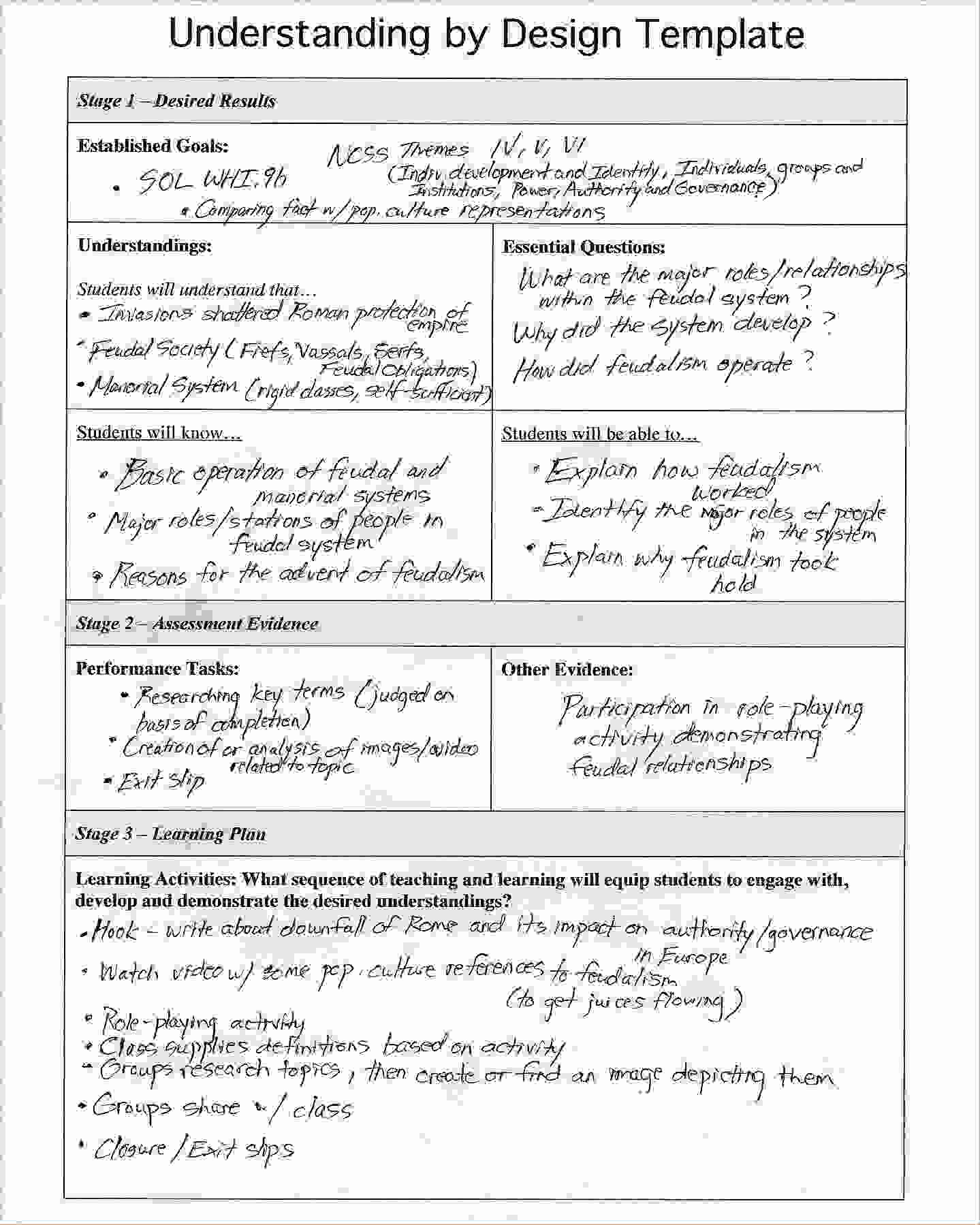 Unit Lesson Plan Template Beautiful Understanding by Design Template