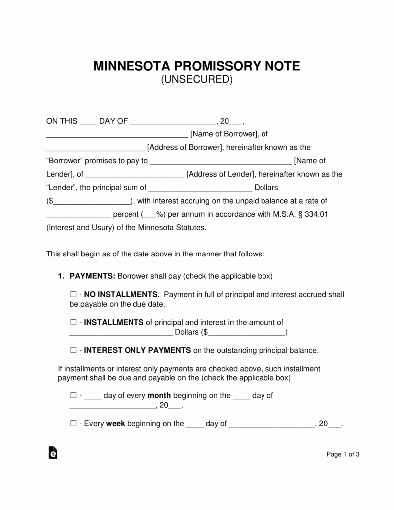 Unsecured Promissory Note Template Luxury Free Minnesota Unsecured Promissory Note Template Word