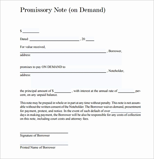 Unsecured Promissory Note Template Unique Promissory Note 26 Download Free Documents In Pdf Word