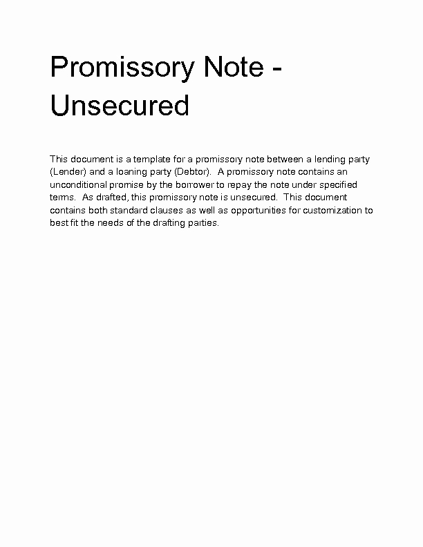 Unsecured Promissory Note Template Unique Wel E to Docs 4 Sale