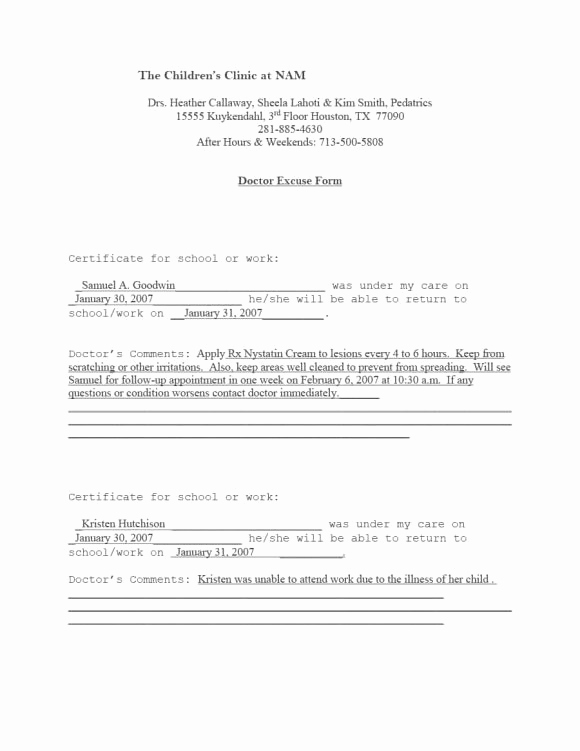 Urgent Care Doctors Note Template Lovely Discreetliasons