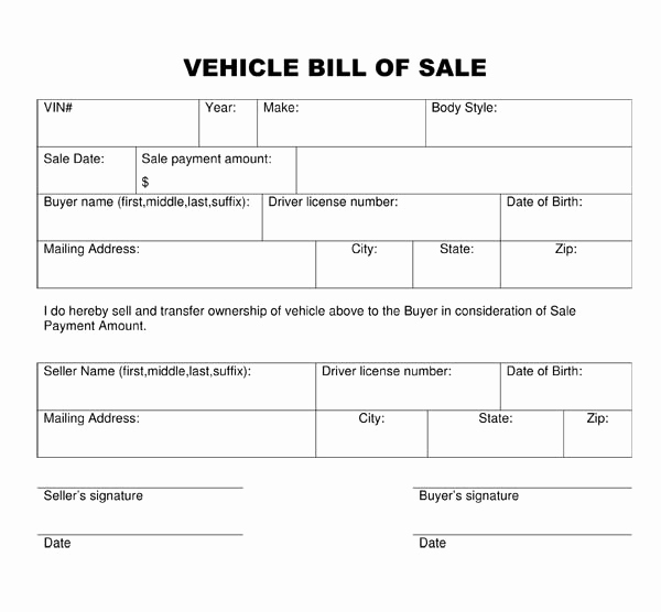 Vehicle Bill Of Sale Example Beautiful Bill Of Sale form Template