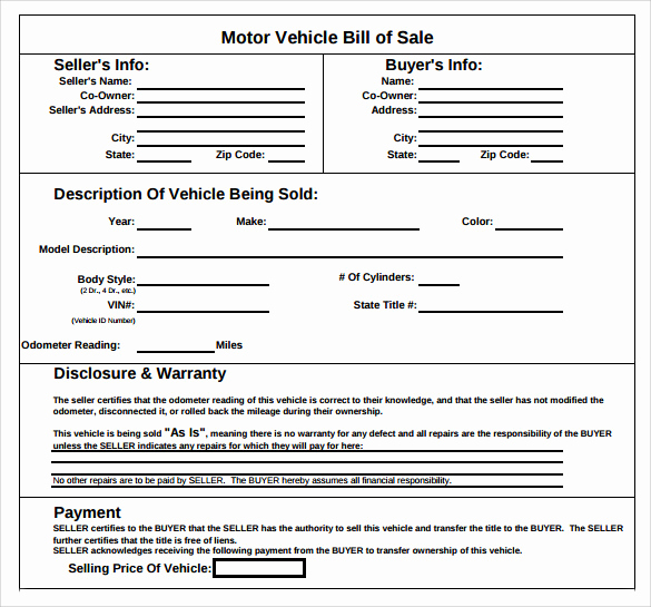 Vehicle Bill Of Sale Example Elegant Sample Vehicle Bill Of Sale form 8 Download Free