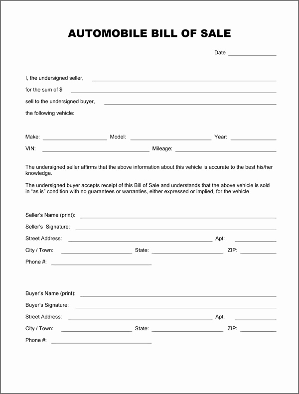 Vehicle Bill Of Sale Example Inspirational Free Printable Vehicle Bill Of Sale Template form Generic