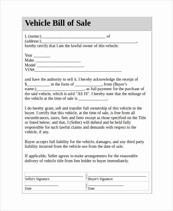 Vehicle Bill Of Sale Example Inspirational Sample Vehicle Bill Of Sale 7 Documents In Pdf Word