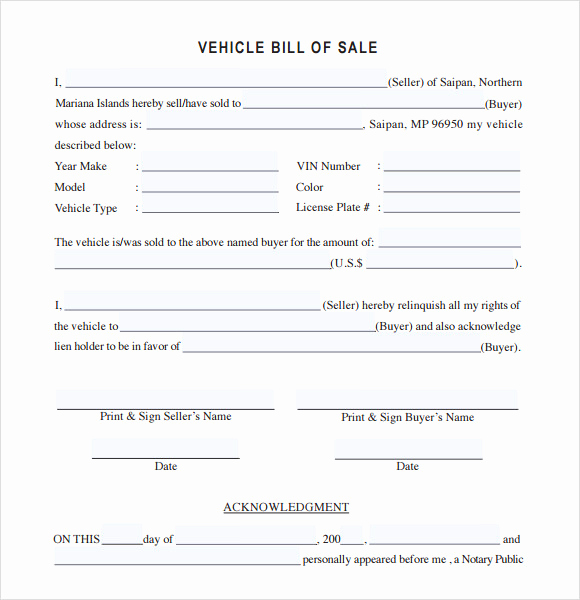 Vehicle Bill Of Sale Example Lovely 14 Sample Vehicle Bill Of Sales Pdf Word